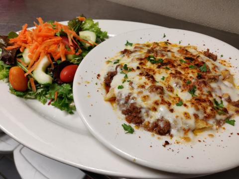 Baked Penne With Meat Sauce and Side Salad